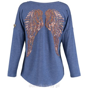 Angel's Face Bluzka LONG SLV SLOUCH TOP DENIM BLUE